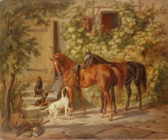 5-621. Adam Albrecht. Horses at the Porch.