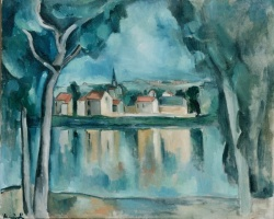 5-644. Vlaminck, Maurice de - Town on the Bank of a Lake.