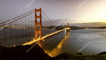 21-824. США, Нью-Йорк, город, мост Golden Gate, панорама.