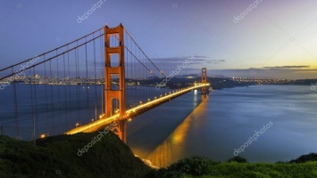 21-823. США, Нью-Йорк, город, мост Golden Gate, панорама.